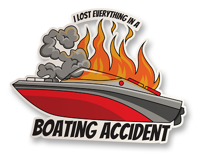 Boating Accident Vinyl Sticker